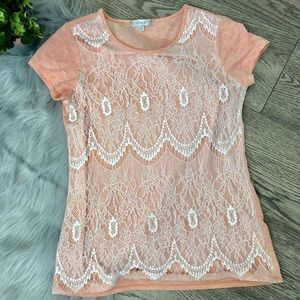 Downeast basic lace short sleeve size S